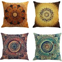 Pillow covers pack of 4?Linen Decorative Cushion Throw Pillow Case Protector Set Cute Pillow Covers 45 x 45cm for Sofa Bedroom Decoration (Style 4)