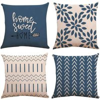 Pillow Covers Set of 4, Modern Sofa Throw Pillow Cover, Decorative Outdoor Linen Fabric Pillow Case for Couch Bed Car (Light Blue, 50*50cm,Set of 4)