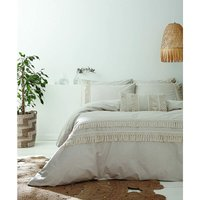 Izmir Tassel Stone Grey King Size Duvet Cover Set 100% Cotton Bed Set - Pineapple Elephant