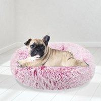 Pink Pet Bed Shaggy Warm Fur Fluffy Dog Nest Cat Pad Cushion Mat, 70CM