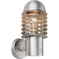Louvre PIR 1Lt Wall Light IP44 60W - Brushed Stainless Steel Body - ENDON