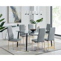 Furniturebox Uk - Pisa Black Leg Glass Dining Table and 6 Grey Gold Leg Milan Chairs