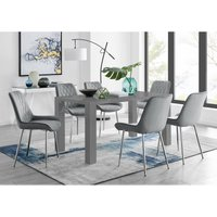 Pivero 6 Grey Dining Table and 6 Grey Pesaro Silver Leg Chairs