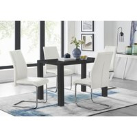 Pivero Black High Gloss Dining Table and 4 White Lorenzo Chairs Set