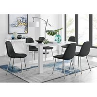 Pivero White High Gloss Dining Table And 6 Black Corona Silver Chairs Set