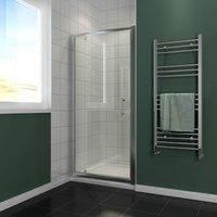 Pivot Hinge Shower Door, 6mm Safety Glass Shower Enclosure Cubicle 860mm - ELEGANT