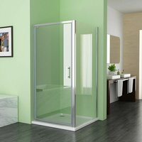 900 x 900 mm Pivot Shower Enclosure Door 6mm Easy Clean Glass Shower Cubicle Door with 700 mm Side Panel - No Tray - LISA