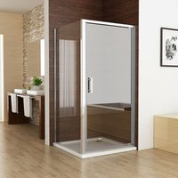760 x 760 mm Pivot Shower Enclosure Door 6mm Safety Nano Glass Shower Cubicle with 760 mm Side Panel - No Tray