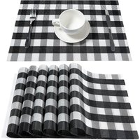 Placemats Black and White Buffalo Plaid Placemat Set of 4 Easy to Clean Wipeable Crossweave Woven Vinyl Table Mats Farmhouse Placemats for Kitchen