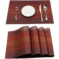 Placemats Set for Dining Table Plastic Woven Vinyl Place Mats Wipe Clean Non Slip Heat Resistant Washable Kitchen Table Mats (A-Red, 6)
