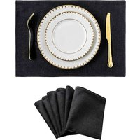 Bearsu - Placemats Set of 6 Heat Resistant Dining Table Place Mats Kitchen Table Mats, Black