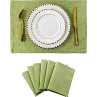 Placemats Set of 6 Heat Resistant Dining Table Place Mats Kitchen Table Mats for Summer, Grass Green