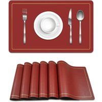 Bearsu - Placemats Set of 6,for Dining Non-Slip,Heat Resistant Kitchen Mats,Stain Waterproof,Easy to Clean Placemats for Kitchen Table?Black/red?