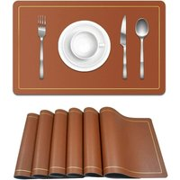 Bearsu - Placemats Set of 6,for Dining Non-Slip,Heat Resistant Kitchen Mats,Stain Waterproof,Easy to Clean Placemats for Kitchen Table?Brown/Grey?