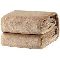 Plaid Taupe Fleece Blanket 150x200 cm - Soft and Warm Bed Blanket Plaid Flannel Sofa Throw 105 * 200cm