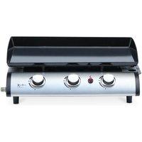 Plancha au gaz 3 feux - Porthos 3 brûleurs - 7,5 kW, barbecue, cuisine extérieure, grande plaque émaillée, inox - ALICE'S GARDEN