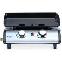 Alice's Garden - Plancha au gaz 2 brûleurs - Porthos - 5 kW, barbecue, cuisine extérieure, plaque émaillée, inox