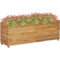 Planter 150x40x55 cm Recycled Teak and Steel - ASUPERMALL