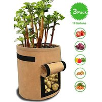 Planter bags for potatoes, tomatoes and other vegetables, breathable fleece fabric, planter with flap, velcro closure and handle, 3 pieces, garden,