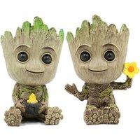 Bearsu - Planter Flower-Pot - Guardians Galaxy Tree Man Flower Pot or Pens Holder - Tiny Succulents Plants for Kids (Bird and Flower)