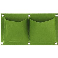 Plants Grow Bags Wall Mount Planter for Yard Garden Home Decoration Plant Protector, Green, 2 pockets