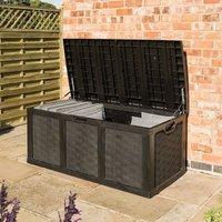 Plastic Cushion Storage Box Bench Chest Cabinet Garden Graphite Grey - Rowlinson