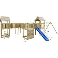Zqyrlar - Playhouse Set with Slide, Ladders and Swings 800x615x294cm Wood - Brown