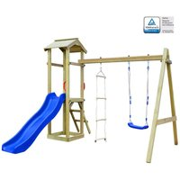 Youthup - Playhouse Set with Slide Ladders Swing 242x237x218 cm Wood