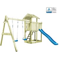 vidaXL Playhouse with Ladder, Slide and Swings 385x353x268 cm Wood - Brown