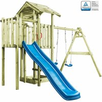 Playhouse with Ladder, Slide and Swings 407x381x263 cm Wood - Brown