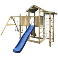 Playhouse with Slide Ladder Swing Set by Brown - Freeport Park