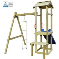Playhouse with Slide Ladder Swing Set by Freeport Park - Multicolour