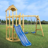 Zqyrlar - Playhouse with Slide Swing Ladder 285x305x226.5 cm - Multicolour