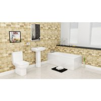 Plumbers Choice Valentino Complete Bathroom Suite - 1700mm x 750mm Single Ended Bath - 550mm Wide Basin