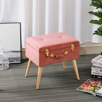 Livingandhome - Plush Velvet Storage Trunk Stool Buttoned Seat Chair Toy Box Suitcase Footstool Hot Pink