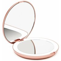 Bearsu - Pocket Illuminated Mirror, 1x / 10x Magnifying - LED Handheld Makeup Mirror with Natural Light, 12.7 cm Diameter, Compact and Portable for