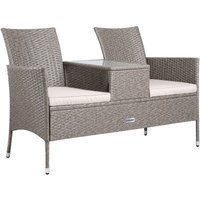 Poly Rattan Cinema Bench 2 Seater Table Tray Cushions and Pads Black Cream Cream