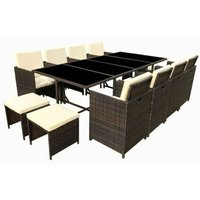 Poly Rattan Dining table Brown lounge Outdoor garden furniture Cube 13P - BROWN