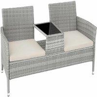 Garden bench with table poly rattan - love seat, patio set, garden set - light grey