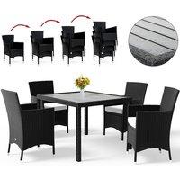 Casaria - Poly Rattan Garden Dining Table Chairs Set WPC Black Patio Outdoor 4 6 8 Seater Sitzgruppe 4+1 (de)