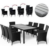Casaria - Poly Rattan Garden Dining Table Chairs Set WPC Black Patio Outdoor 4 6 8 Seater Sitzgruppe 8+1 (de)