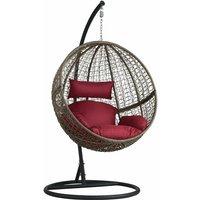 Hanging chair with round frame rattan - hanging egg chair, swing chair, hanging garden chair - braun