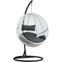Hanging chair with round frame rattan - hanging egg chair, swing chair, hanging garden chair - white - TECTAKE