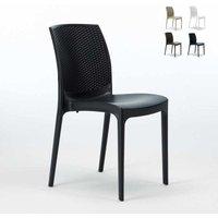 BOHÈME Stackable Garden Chair High-Quality Resin Rattan | Black - GRAND SOLEIL