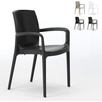 BOHÈME ARM Garden Dining Chair With Armrests Rattan | Black - GRAND SOLEIL