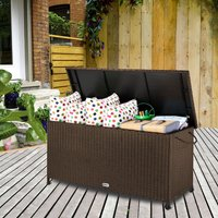 Polyrattan Storage Chest with Lifting Automatic and Inner Lining Black / Brown Brown - CASARIA