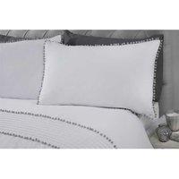 Rapport - Pom Pom Single Duvet Cover Set White/Grey Bedding Bed Quilt Set
