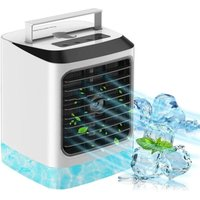 Portable Air Cooler, Personal Mini Air Conditioner Fan with 3 Cooling Speeds and 7 Colors Night Light Desktop Cooling Fan, Evaporative Air Cooler for