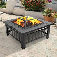 Portable Courtyard Metal 3-in-1 Fire Bowl BBQ Brazier with Accessories Black (31.9 x 31.9 x 17.7 inch)