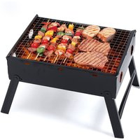 Portable Folding Camping BBQ Grill Stand Charcoal Barbecue Stainless Steel - LIVINGANDHOME